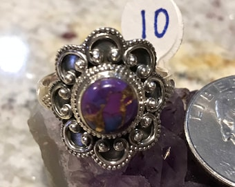 Copper Purple Turquoise Ring Size 10