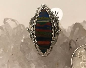 CLEARANCE * Rainbow Calsilica Ring Size 8 1/2