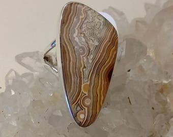 Crazy Lace Agate Ring Size 7