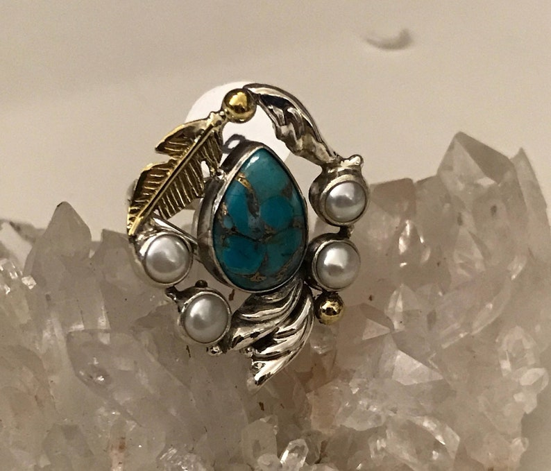Blue Turquoise and Pearl Ring Size  6