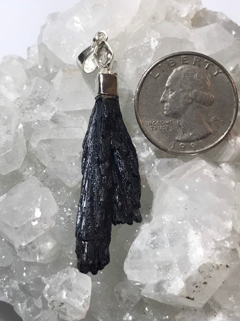 Natural Black Kyanite and Herkimer Diamond Pendant