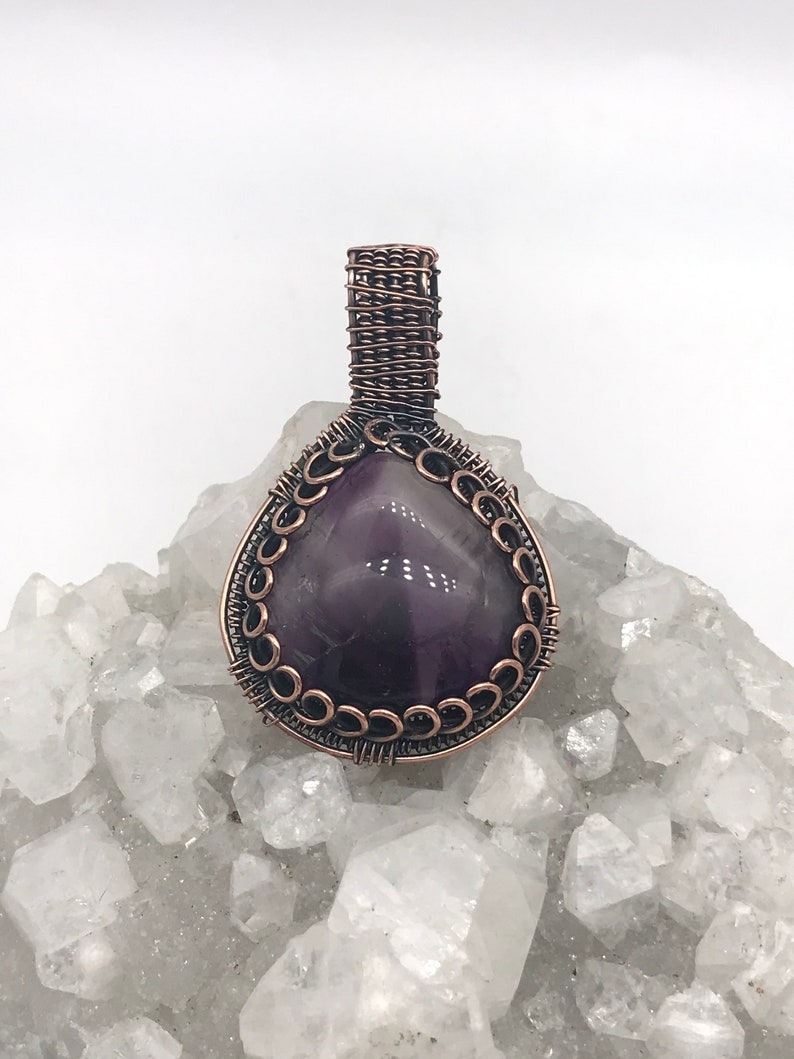 Beautiful Wire Wrapped Chevron Amethyst Pendant