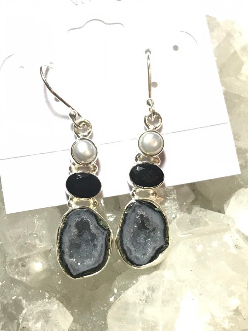 Black Onyx and Pearl Earrings Black Geode Druzy