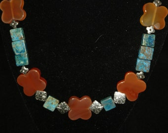 CLEARANCE* Chrysocolla and Agate  Necklace