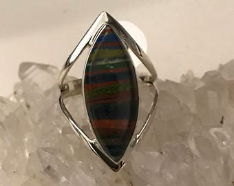 CLEARANCE * Rainbow Calsilica Party Ring  Size 10