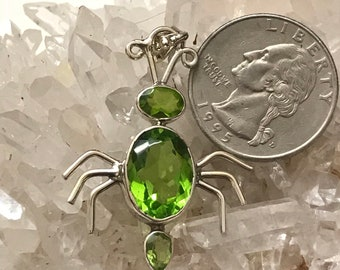 Itsy Bitsy Peridot Spider Pendant Necklace