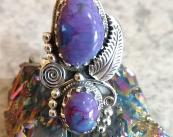 Copper Purple Turquoise Ring Size 7 1/4