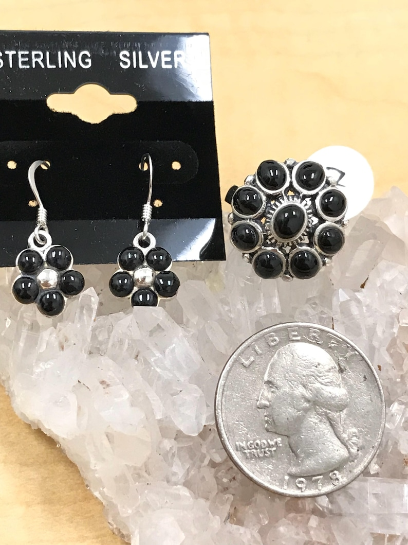 Ring Size 7 Flower Black Onyx Ring and Matching Earrings