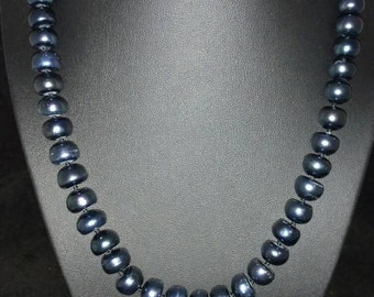 10 MM Grey Pearl Necklace  18in