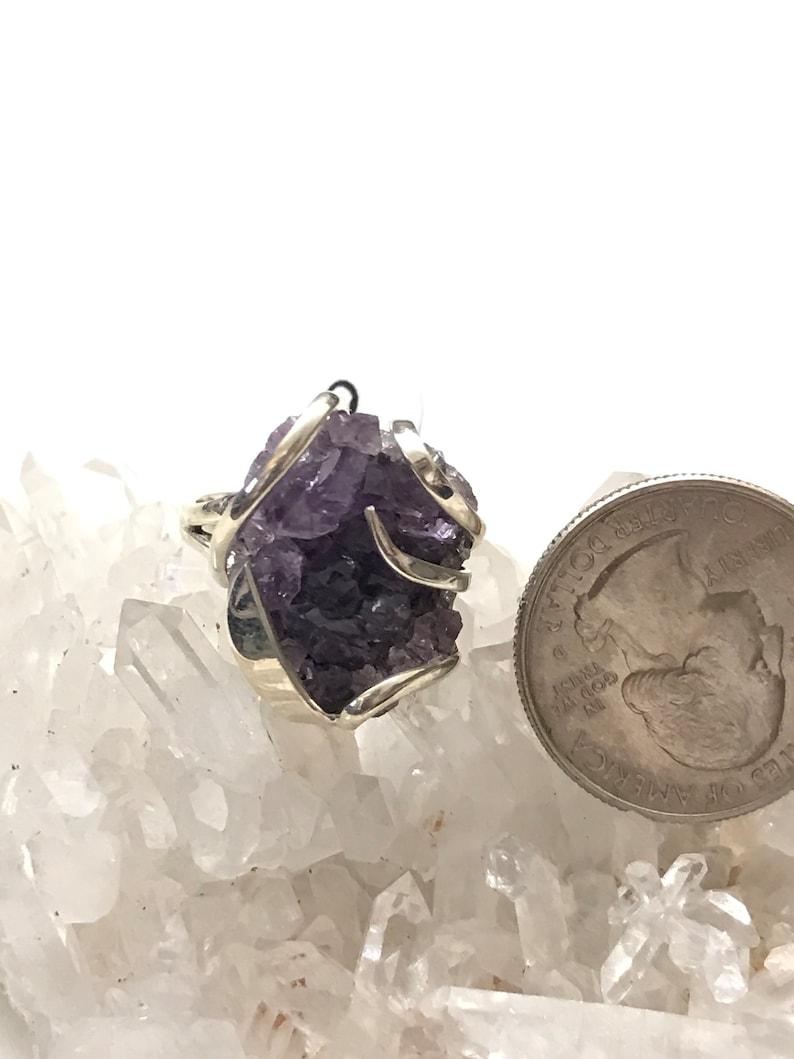 Size 9 Rough Amethyst Ring