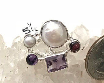 Rough Amethyst and Pearl Ring, Size 5 1/2