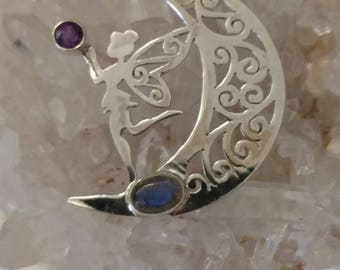 CLEARANCE * Moon Dancing Fairy Pendant with Labradorite and Amethyst Accents