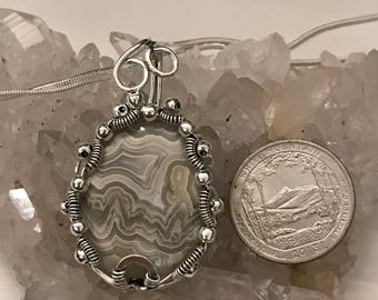 Wire Wrapped Crazy Lace Agate Pendant Necklace