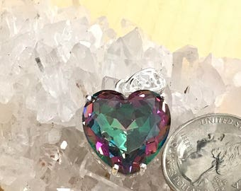 Mystic Topaz Heart Pendant Necklace
