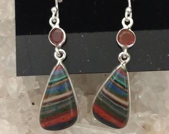 CLEARANCE * Rainbow Calsilica & Carnelian Earrings