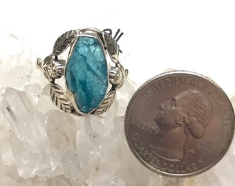 Neon Blue Apatite Ring Size 8 1/2