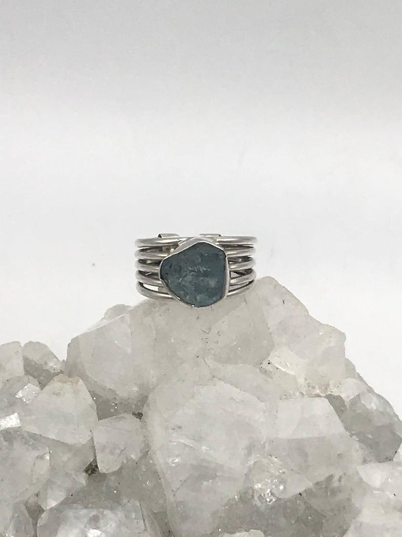 Size 5 12-Adjustable Rough Aquamarine Ring