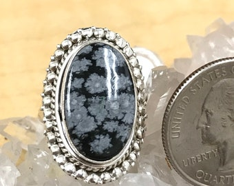 Snowflake Obsidian Ring Size 6 1/2