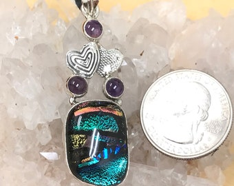Abstract Dichroic Glass and Amethyst Pendant Necklace