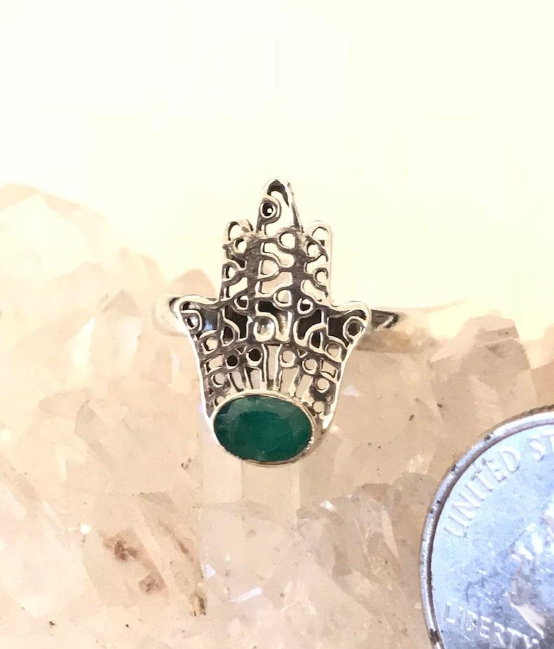 Emerald Hamsa Hand Chakra Ring Size 7 12