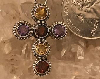 Amethyst, Citrine and Garnet Cross Necklace