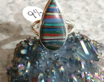 CLEARANCE * Rainbow Calsilica Party Ring  Size 9 1/2