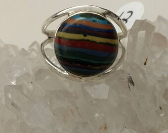 CLEARANCE * Rainbow Calsilica Party Ring  Size 12