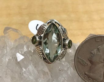 Green Amethyst and Peridot Ring Size 6