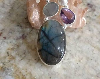 Fiery Labradorite, Amethyst and Pearl Pendant Necklace