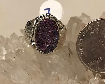 Pink Druzy Ring, Size 7