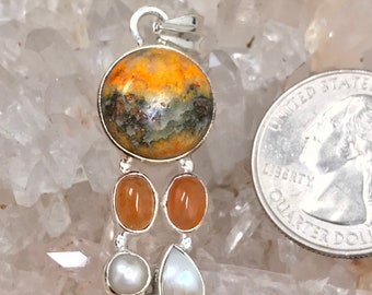 Bumblebee Jasper, Carnelian and Pearl Pendant Necklace