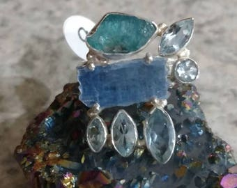 Rough Kyanite,  Blue Topaz, Neon Blue Apatite, &  925 Sterling Silver Ring, Size 9