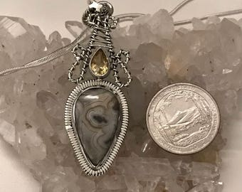 Crazy Lace Agate and Citrine Pendant Necklace