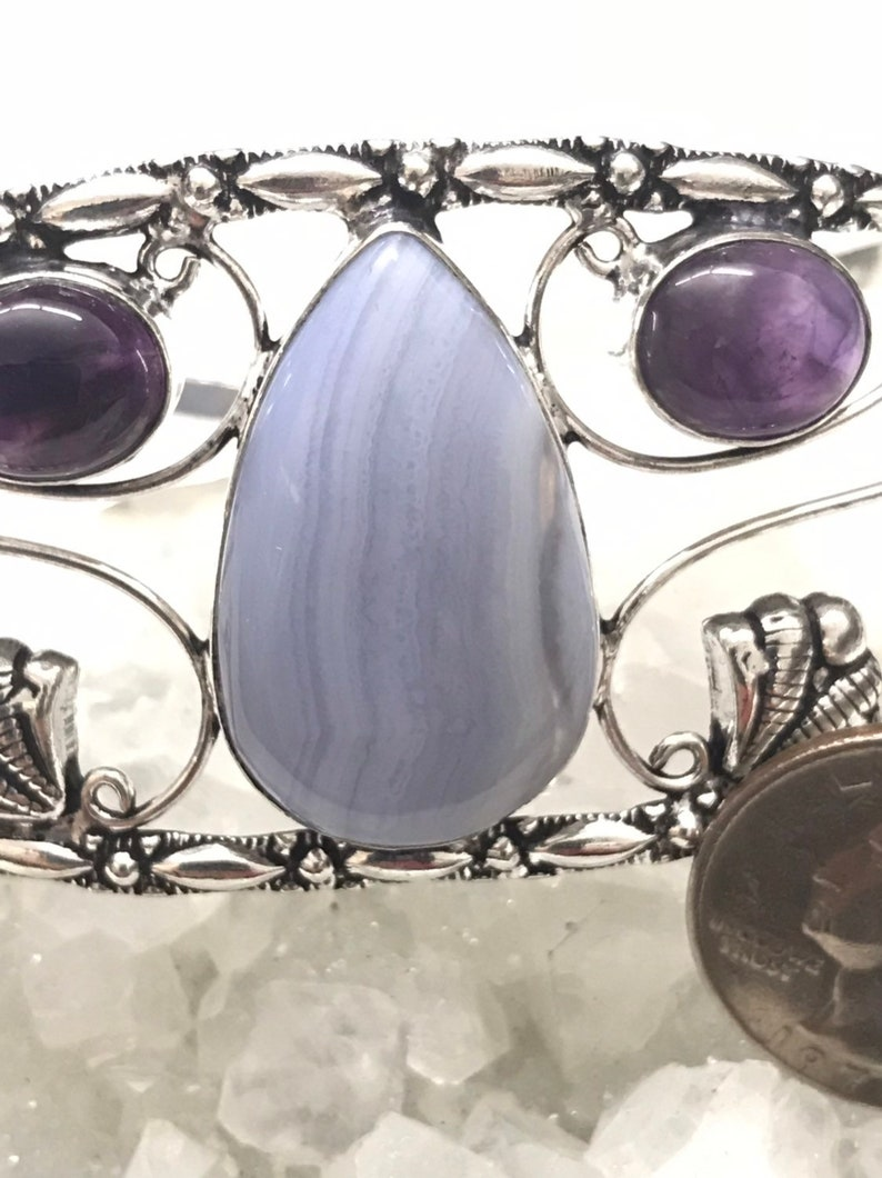 CLEARANCE Blue Lace Agate and Amethyst Bangle or Arm Cuff