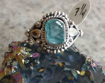 Neon Blue Apatite Ring Size 7 1/4