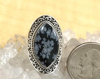 Snowflake Obsidian Ring Size 8 1/2