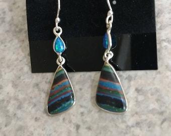 CLEARANCE * Rainbow Calsilica and Opal Earrings