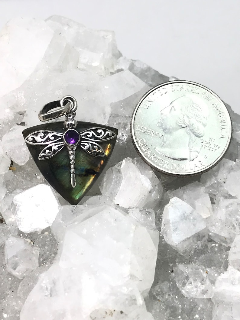 Beautiful Fiery Dragonfly Labradorite and Amethyst Pendant