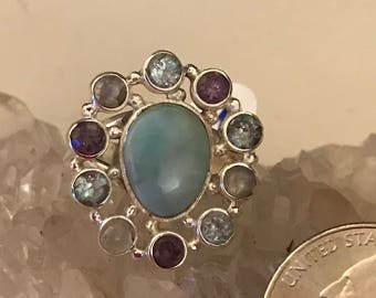Larimar, Blue Topaz, Moonstone and Amethyst Ring Size 9