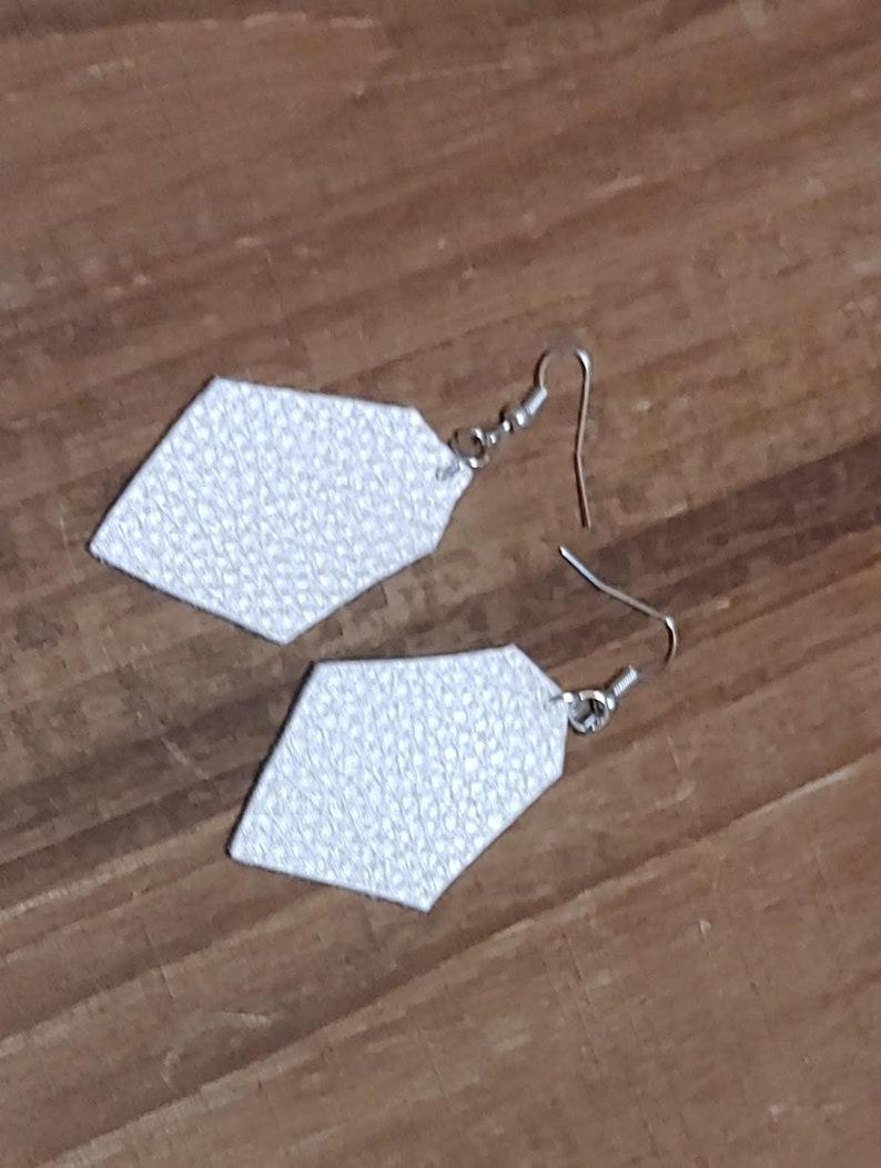 Geometric Shape Ivory Faux Leather Earrings