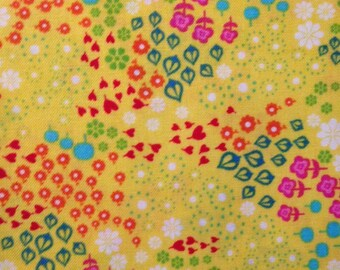 Pink/Aqua/Red/Orange/Green Floral on Yellow Background, Tribeca by Timeless Treasures, 100% Cotton