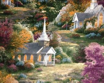 Spring Chapel by Thomas Kinkade for David Textiles, 100% Cotton