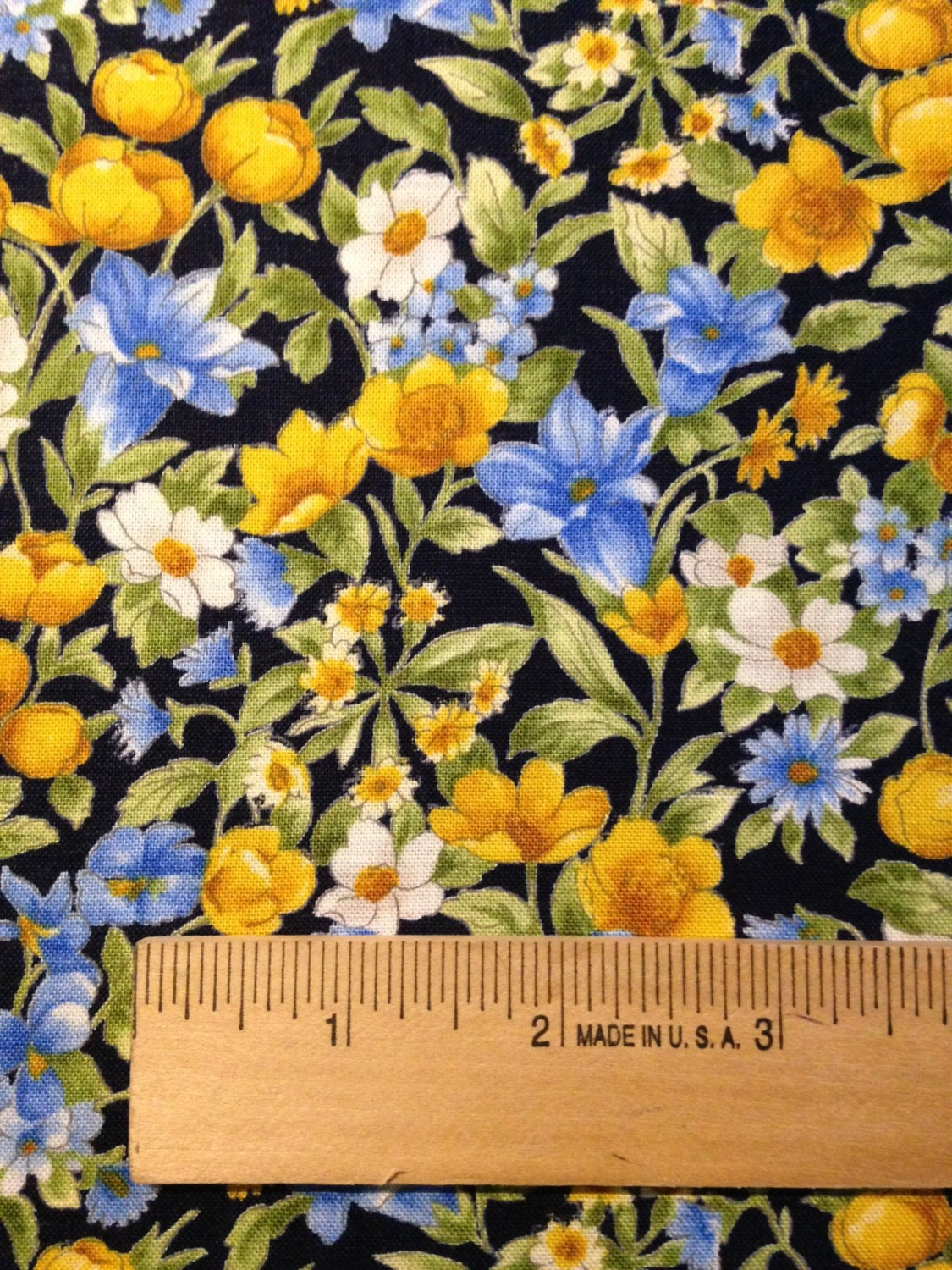 Yellow White And Blue Flowers On Navy Background Summer Etsy