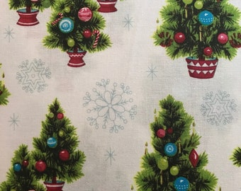 Whimsical Green Christmas Trees and Light Blue Snowflakes on White Background, Christmas Kitsch by Anna Griffin for Blend, 100% Cotton