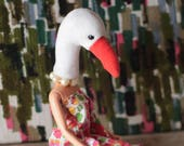 Swan animal head art doll...