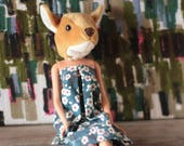 Deer animal head art doll...
