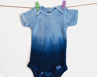 Indigo Ombre Short Sleeve Baby Onesie / Tie Dye Boho Baby Onesie / Unisex Baby Clothing / Baby shower Gift