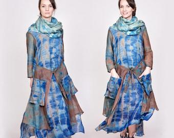 Brown and Blue Maxi Shibori Dress / Hand Dyed Boho Evening Dress / Flowing Shibori Dress