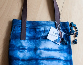 2a9d9f1609 Handmade Indigo Shibori Canvas Tote Bag with Brown Genuine Leather Straps    Laptop