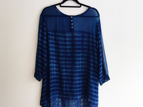 Indigo Dyed Rayon Flowing Blouse with a Bow  Rayon Blouse Hand dyed in deep indigo with Asymmetrical Hem  Shibori Rayon Top  Festival Top